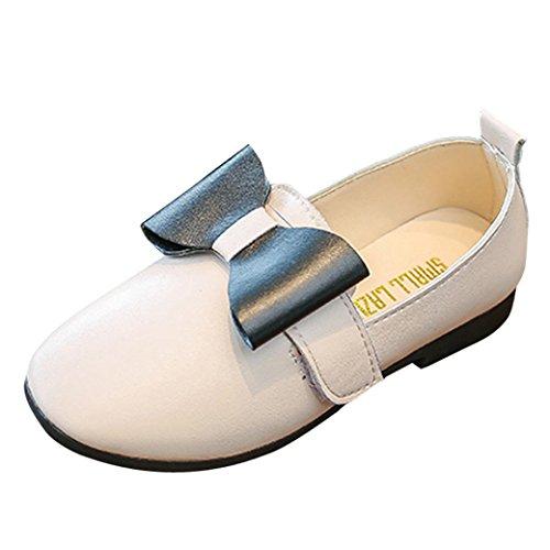 TPulling Mode Herbst Und Frühling﹛1T-3.5T﹜Kinder Mädchen Sonnenblume﹛Bow Freizeitschuhe﹜Bogen Schuhe Flache Sneaker Tanzschuhe Schuhe Rutschfeste Turnschuhe Lässige Schuhe (Weiß, 24=EU:23) (Star-mädchen-schuhe)