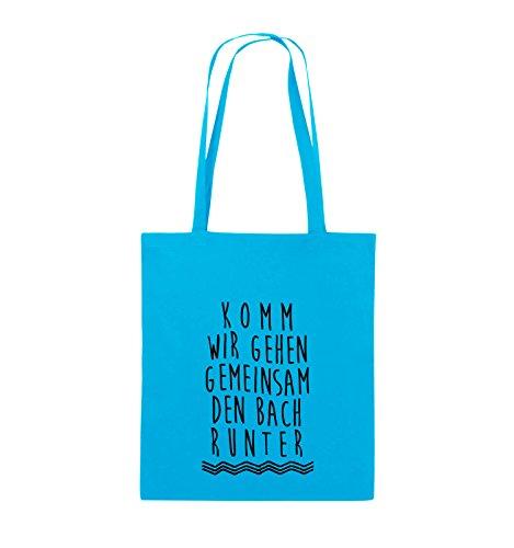 Comedy Bags - Komm wir gehen gemeinsam den Bach runter. - Jutebeutel - lange Henkel - 38x42cm - Farbe: Schwarz / Pink Hellblau / Schwarz