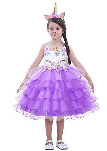 LZH Mädchen Einhorn Party Kleid Blume Rüschen Cosplay Geburtstag Prinzessin Kleid