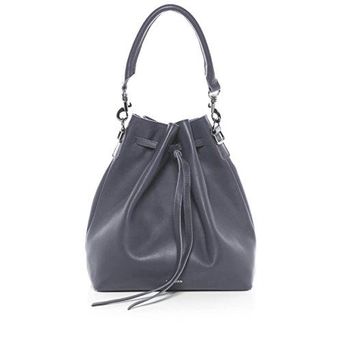 FEYNSINN® Beuteltasche NIK - Damen Schultertasche groß Ledertasche - Hobo Bag Zugbeutel Damentasche echt Leder anthrazit