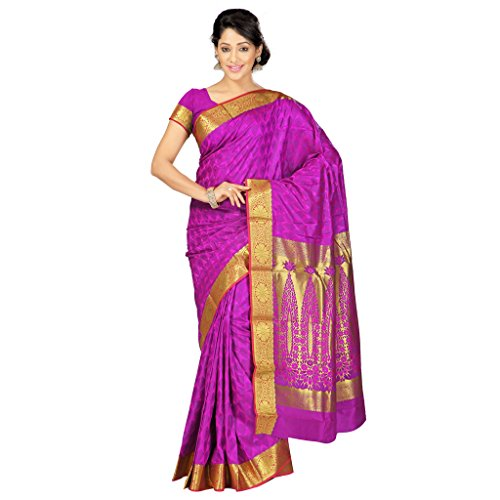 Varkala Silk Sarees Women's Art Silk Kanchipuram Saree With Blouse Piece(JP8101PV_Purple_Free Size)