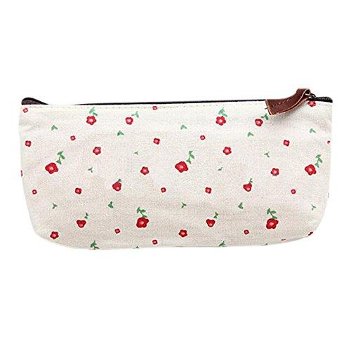 Floral Purse Bag ((off-white) - Flower Floral Pencil Pen Case Cosmetic Makeup Tool Bag Storage Pouch Purse)
