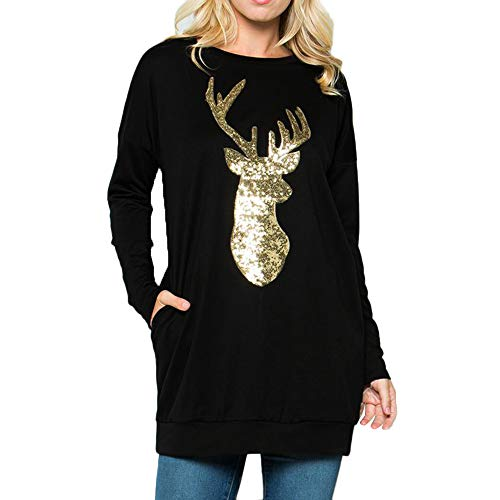 MORCHAN Cadeaux de noël Femmes de Noël à Manches Longues Wapiti Chemisier Sweat-Shirt Hauts Casual(X-Large,Noir)