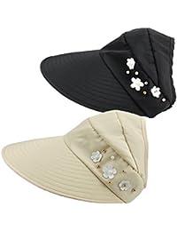 Gorra de Visera de Borde Ancho Sin Vello para Mujer 2 Paquetes Sombrero de  Sol de Verano Gorra Ajustable de Protección UV de Algodón… 95597422bb5