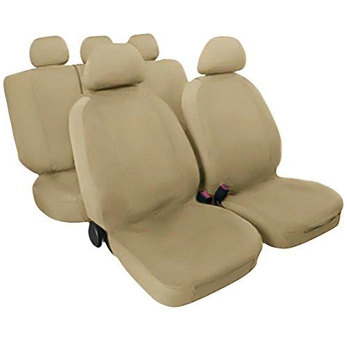 Coprisedili per auto modello universali compatibili per autovetture senza airbag laterale, senza sedioli sportivi e senza braccioli (Beige)