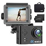 Action Cam 4K WiFi Action Kamera 40M Unterwasserkamera mit 2 Batterie, Transporttasche und kostenlose Accessoires