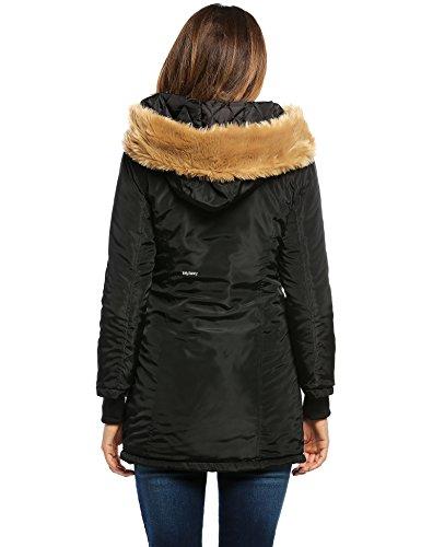 MEXI Damen Wintermantel Warm Pelz Parka Mit Kapuze Mantel Verdicken Überzieherjacke M-XXL Schwarz
