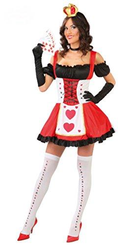 Party Motto Casino Kostüme (,Karneval Klamotten' Kostüm Herzkönigin Herzdame sexy Poker-Dame Damen-Kostüm Kleid Größe)