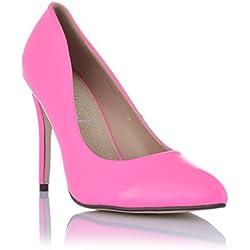 High Heels Stiletto Pumps Abendschuhe mit Ledereinlagen Lack-Optik Neon Pink EUR 37