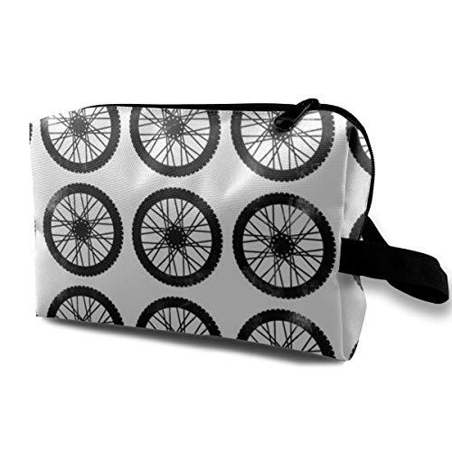 Trousse de maquillage pour sac à main, Roues sur blanc - Motocross Dirt Bike_120, Tissu Oxford Sac de voyage coloré Mini Travel