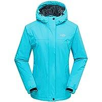 Wantdo Chaqueta para Mujer de Esquí de Montaña a Prueba de Viento con Capucha Desmontable
