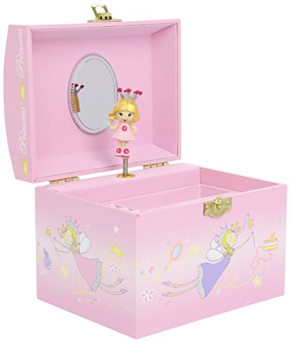 Children's Musical Jewellery Box with Pink Fairy Princess Design & Pearl Handle Design -