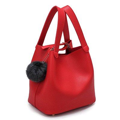 Haihuayan Handtasche Pu Eimer Taschen Frauen Handtaschen Heißer Verkauf Top-Griff Frauen Taschen Ball Hohe Qualität Einkaufstasche Damen Sac Ein Haupt Rot A 23X17X21 Cm (Tasche Ball-eimer)