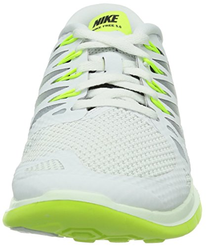 Nike Free 5.0, Damen Laufschuhe Weiß (White/Dark Obsidian-Volt-Pure Platinium)