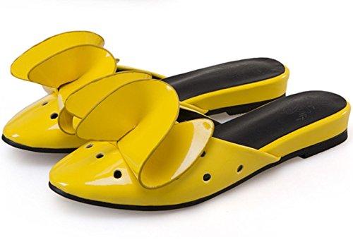 Pattini di grande formato delle donne di XDGG Estate Pattini piani dei sandali dei nuovi fiori di brevetto di estate del pattino dei fiori di tridimensionale yellow