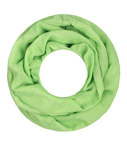 Majea Loop Cary Basic Schal Tuch Damen-schal Schlauchschal Rundschal Halstücher uni unifarben Loopschal einfarbig, Hellgrün, 170x80
