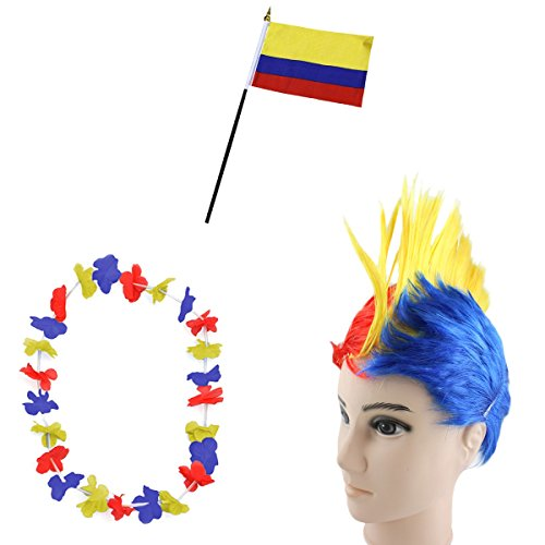 Kolumbien Kostüm - Sonia Originelli Fan-Paket-4 WM Fußball Irokese Perücke Hawaiikette Flagge Party Farbe Kolumbien