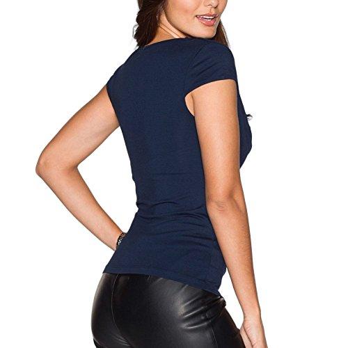 Damen T-shirt Strass Kurzarm V-Ausschnitt Schlank Großformat Casual Falten Tops Blusenbody Oberteile Blusen Blau