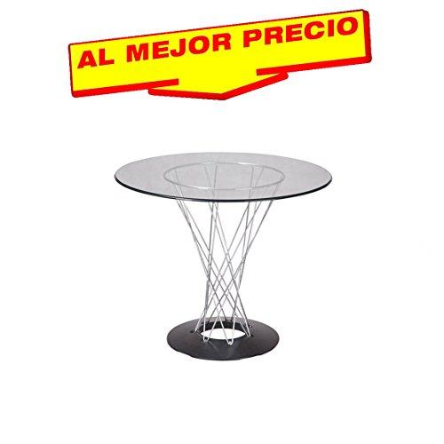MESA DE COMEDOR REDONDA DE CRISTAL NOGUCHI STYLE 120 CM - OFERTAS HOGAR -¡AL MEJOR PRECIO!