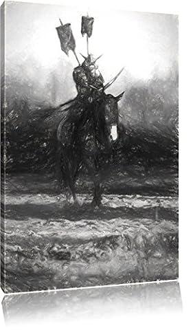 Samurai Krieger auf einem Pferd Kunst Kohle Effekt, Format: 80x60 auf Leinwand, XXL riesige Bilder fertig gerahmt mit Keilrahmen, Kunstdruck auf Wandbild mit Rahmen, günstiger als Gemälde oder Ölbild, kein Poster oder (Hot Ninja Kostüm)