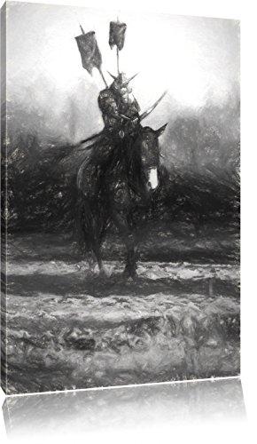 Samurai Krieger auf einem Pferd Kunst Kohle Effekt, Format: 80x60 auf Leinwand, XXL riesige Bilder fertig gerahmt mit Keilrahmen, Kunstdruck auf Wandbild mit Rahmen, günstiger als Gemälde oder Ölbild, kein Poster oder Plakat