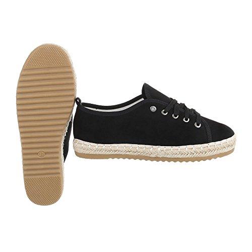 Low-Top Sneaker Damenschuhe Low-Top Sneakers Schnürsenkel Ital-Design Freizeitschuhe Schwarz B743S-BL