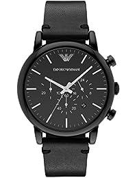 Emporio Armani AR1918 - Reloj de cuarzo con correa de cuero para hombre, color negro