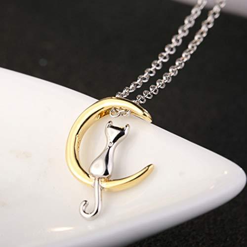 Simsly Fashion - Colgante de plata de ley 925 con diseño de gato y luna
