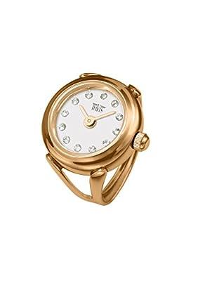 Davis 4161 - Reloj anillo ajustable de mujer, esfera blanco con cristales Swarovski- cristal de zafiro, acero inoxidable, color oro rosado de Davis