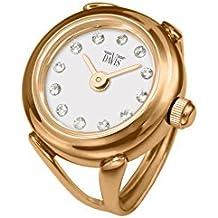 Davis 4161 - Reloj anillo ajustable de mujer, esfera blanco con cristales Swarovski- cristal