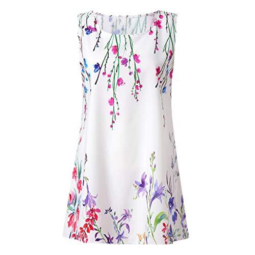 Haludock Damen Dame Summer Sleeveless Dünne Beiläufige Über dem Knie Oansatz Kleid Maxi Printing Party Evening Mini Dress