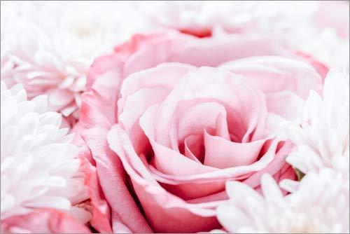 Posterlounge Acrylglasbild 60 x 40 cm: Rosa Rosen und Gerbera Blumen im Hochzeits-Bouquet von Radu Bercan - Wandbild, Acryl Glasbild, Druck auf Acryl Glas Bild