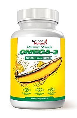 Omega 3 Maximum Strength Fish Oil - 1000mg: 180 EPA, 120 DHA per serving - 180 Softgel Capsules by Nathans Natural by Nathans Natural