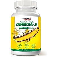 Premium Omega-3-Fischöl-Kapseln, hochdosiert für maximale Wirkung | Mit Vitamin E | Gesund und gut verträglich