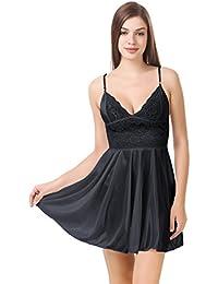 Fire Figure Women's Babydoll Nighty Sleepwear Lace Lingerie Nightwear with Panty (Black, Free Size).