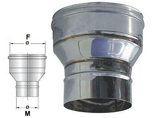 Riduzione e/o aumento di diametro in acciaio inox per canna fumaria (DN 130-200)