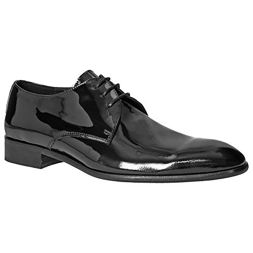 kfein #101 Herren Lack Derby Schnürschuhe Smoking Business Vollleder, Schuhgröße:40, Farbe:lackschwarz (Smoking Schuhe)