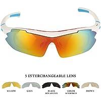 Occhiali da Sole per Sport all'Aperto per Bici-Corsa- Pesca- Mountain Bike-5 lenti intercambiabili (1 Polarizzata -1 Lente a Specchio) - Montatura Interna Per Occhiali Da Vista-da Bezzee-Pro - Sport Outlet 24