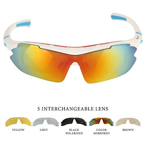 Occhiali da Sole per Sport all'Aperto per Bici-Corsa- Pesca- Mountain Bike-5 lenti intercambiabili (1 Polarizzata (Persol Occhiali Da Sole Graduati)