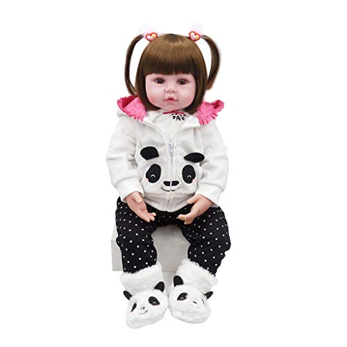 Xurgm Panda Reborn Baby Doll Bambola Morbida Simulazione Silicone Vinile 22' 56 cm Realistico Ragazzo Ragazza Giocattolo Boy Girl