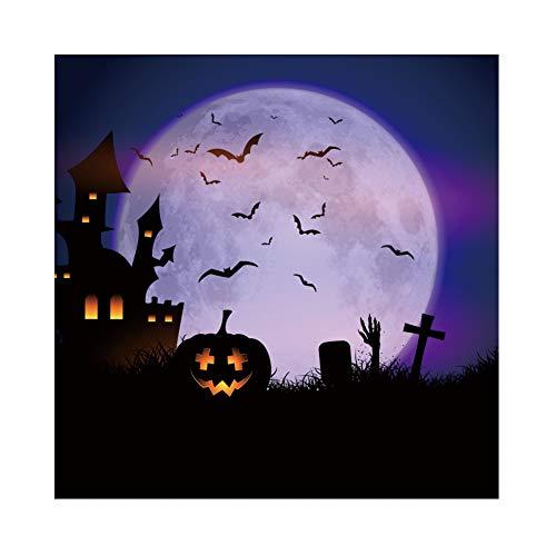 ween Hintergrund Zombie Schloss Grabstein Vollmond Fledermäuse Sternenklare Nacht Hintergrund Halloween Party Fotografie Süßes oder Saures Kinder Party Banner Dekoration Porträt ()