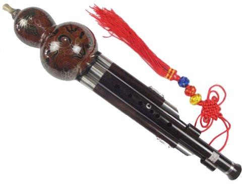 Ebenholz Cloisonne 3 Octave Gourd Flute Hulusi Woodwind + Fall #109 - Ksotenloser Versand, Weltweit