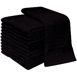 """Deluxe- Juego de 12toallas de cara, 100% algodón, 30x 30cm, algodón, negro, 12.00"""" (30cm) Wide x 12.00"""" (30cm)Long."""