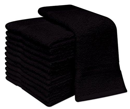 Confezione da 12lavette viso deluxe, asciugamani 100% cotone da viso, panni da viso 30x 30cm , 100% cotone, black, 12.00