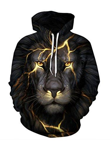 Cuckoo Unisex Pullover Schwarz Hoodie Lion Gedruckt Langarm 3D Beiläufige Hoodies XXL/XXXL (Atem Kapuze)
