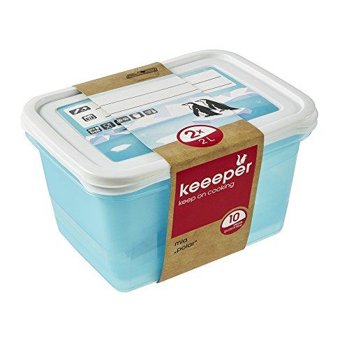 keeeper Tiefkühldosenset 2-teilig, Wiederbeschreibbarer Deckel, 2 x 2 l, 20,5 x 15,5 x 10,5 cm, Mia Polar, Eisblau Transparent 2 Liter Dose