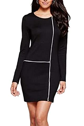 Women Colorblock Long Sleeve Scoop Neck Bodycon OL Pencil Dress Black XS