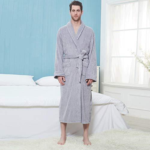 LIUY Luxuriöse Männer Bademantel, Schal Langarm Leichte Kragen Coral Fleece Super Soft Bequeme, warme Bademäntel for Männer oder Jungen (Color : Gray, Size : M)