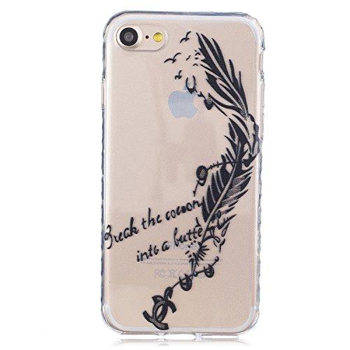 Pour Apple iPhone 7 (4.7 Pouces) Coque ZeWoo® Étui en Silicone TPU Housse Protecteur - BF082 / Des Plumes BF087 / Une Plum Noir