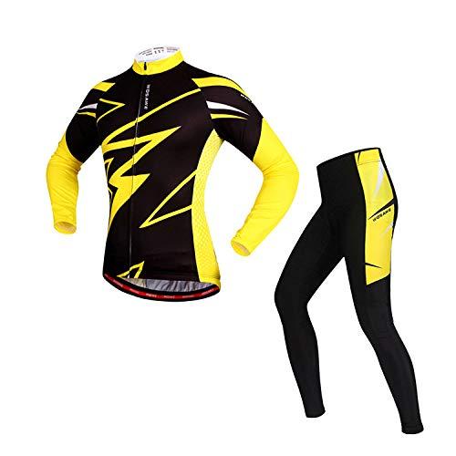 Lgwj Herren gelb Hemd Frühling und Herbst langärmeligen Jersey-Anzug, Fahrrad schnell trocknende Langarm-Anzug Silikon-Pad,XL - Reduzierung-anzug